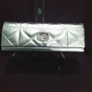 Handbags - Green Quilted Clutch Purse with Rhinestone Accent